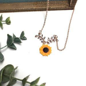 Rose Gold Sunflower Boho Leaf Necklace